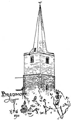 Bradmore church spire (drawing: Harry Gill, 1911).