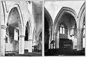 East Bridgford church–north aisle before and after restoration.