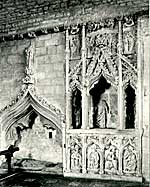 The early 14th century Easter Sepulchre in Hawton Church.
