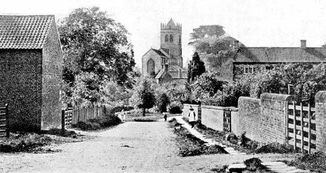 Laxton church from 'The Bar', c1905
