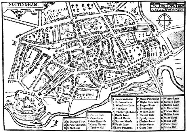 Fig. 1. Speed's plan of Nottingham, published 1610. C shows the only known representation of the medieval church of St. Nicholas.