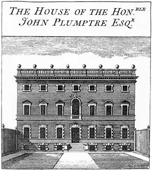 Plumtre House as depicted in Deering's History of Nottingham (1751).