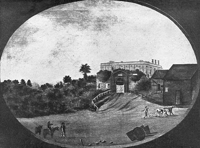 NOTTINGHAM CASTLE LODGE. (From an old Painting in the possession of Dr. Thos. Wright.)