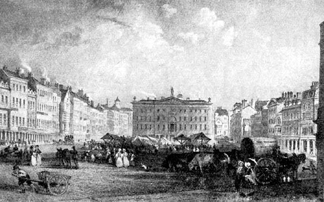 Market Place, Nottingham, by Thomas Allom.