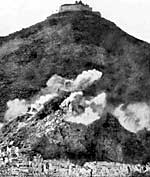 The Allies attacking Monte Cassino in World War II.