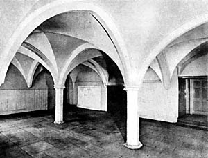 West cloister range; interior of ground floor, Welbeck Abbey.
