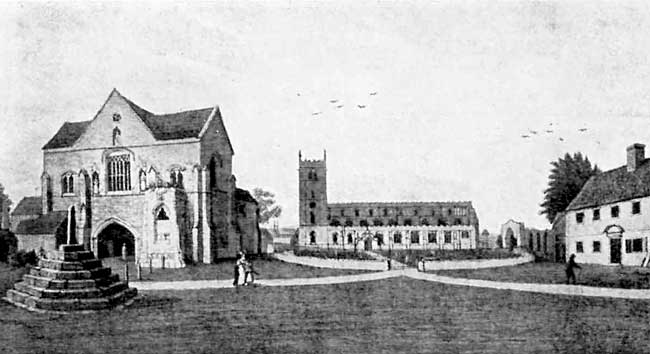 Worksop Priory, church and gatehouse. Before the restoration of the church in 1833.