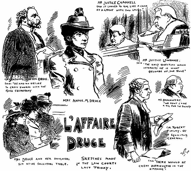 Mrs Druce finds the judges uphold the cemetery company's objections (The Penny Illustrated, March 1899).
