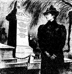 Mrs Druce at T C Druce's grave in Highgate Cemetery (The Penny Illustrated Paper, 18 March 1899).