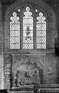 Tuxford church (monument and window to St Lawrence).